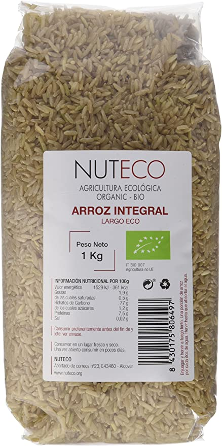 Nuteco Arroz Integral Largo BIO - 10 Paquetes de 1000 gr ...