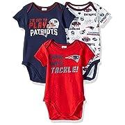 Gerber Childrenswear NFL New England Patriots Boys 20183 Pack Short Sleeve Variety Bodysuit, Blue, 0-3 Months