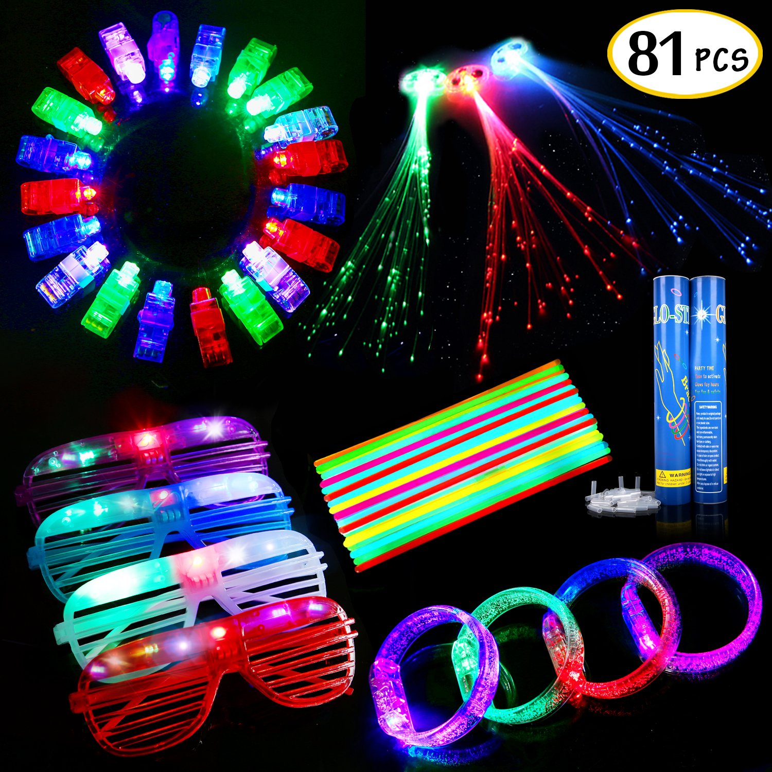 Party Favors for Kids Adults, Glow in The Dark Party Supplies, 81PCS Led Light Up Toys, 50 Glow Sticks, 20 Finger Lights, 4 Led Glasses, 4 Light Up Bracelets, 3 Flashing Lights Hair by SCIONE