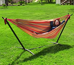 Sunnydaze Cotton Double Brazilian Hammock & Stand Combo, Sunset, 60 Inch Wide x 132 Inch Long