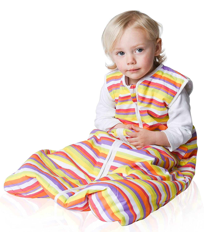 Snoozebag Stripes 100% Cotton Unisex 2.5 Tog Nursery Baby Sleeping Bag Multi-Coloured 18-36 Months (110cm) Babycurls SB-S2.5