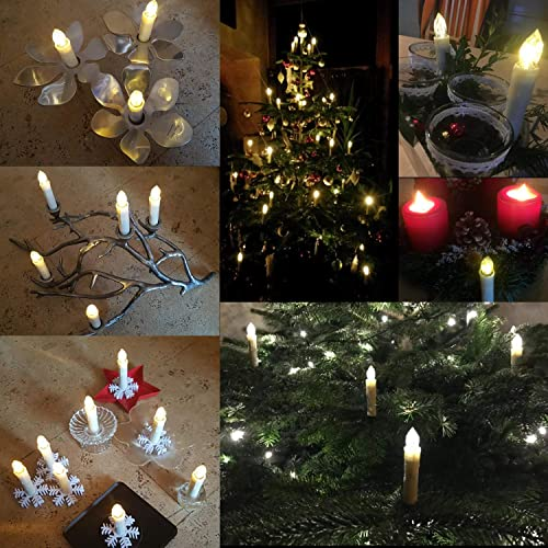 BOWKA Flameless Window Candles, 10 20 30 40pcs Waterproof Warmwhite Taper Candle with Remote Timer Function Battery Removable Holder for Christmas Wedding Party Deco Beige, 10pcs 0.7 D x 4 H
