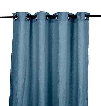 Harmony - Rideaux en lin lavé Viti avec oeillets - 100% Lin - Bleu ...