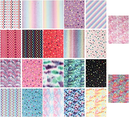 HEALLILY Shiny Glitter Fabric Pu Leather Fabric Sheet Canvas Back for Craft DIY Hair Crafts Making Leather Earrings Shoes Making DIY Supplies 22pcs Random Color
