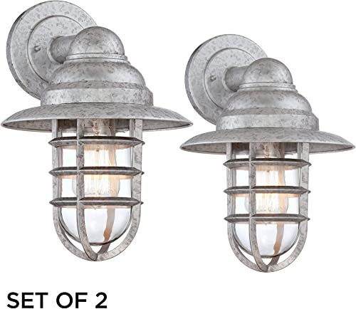 Marlowe Industrial Farmhouse Outdoor Wall Light Fixtures Set of 2 Galvanized 13 1/4″ Hooded Cage Clear Gla