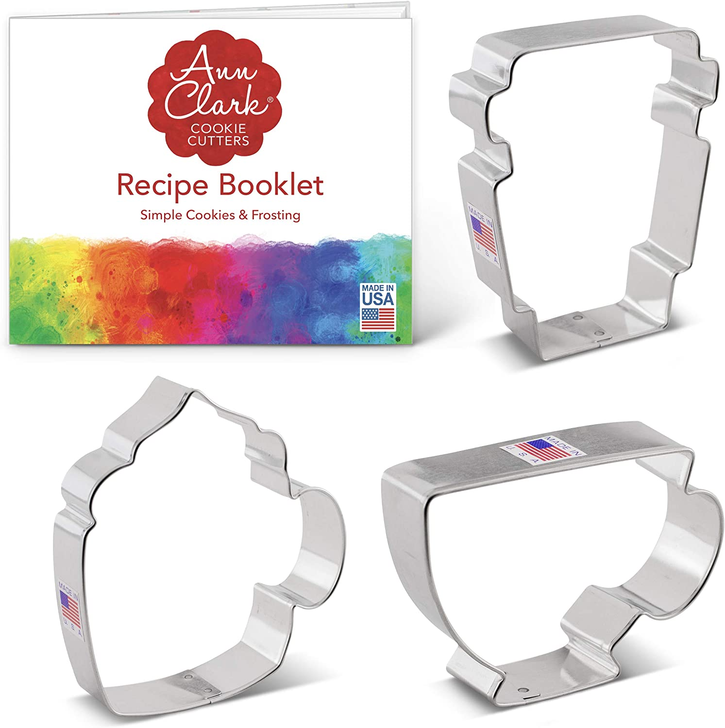 Ann Clark Cookie Cutters 3 Piece Coffee / Tea Cup Cookie Cutter Set with Recipe Booklet, Coffee Mug, Latte Cup, Teacup