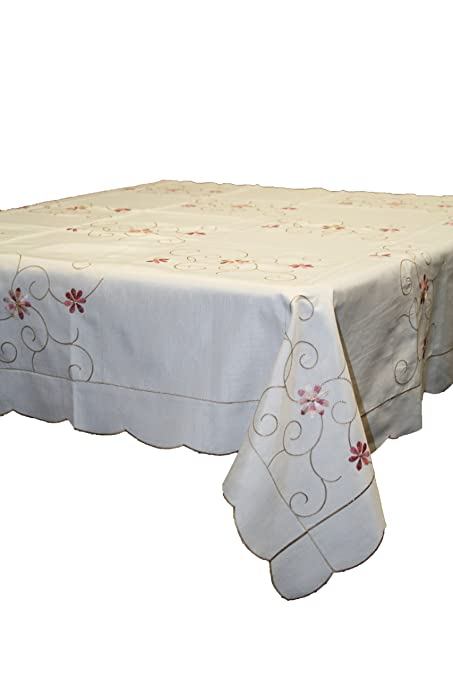 New Orleans Embroidered Design Tablecloth   White 70u0026quot; X 108u0026quot; ...