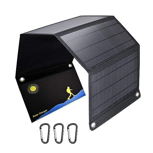 WZHESS 3 Puertos USB 28W Cargador Solar, 5V Cargador de ...