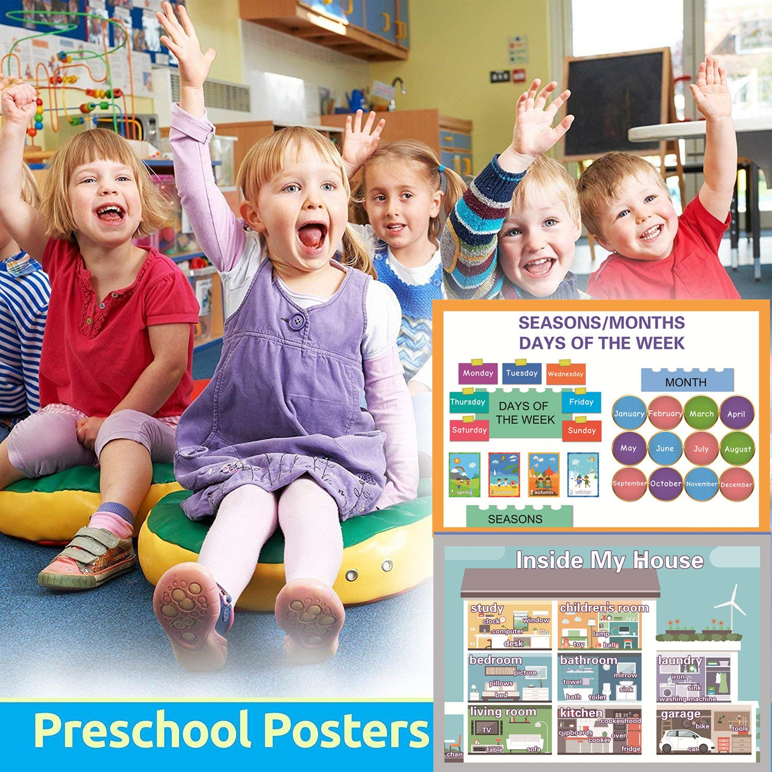 Classroom Decorations Organization Learning Posters For Kindergarten -17x24in Wall Charts For Toddlers SANCENT Educational Preschool Posters for Kindergarten Color