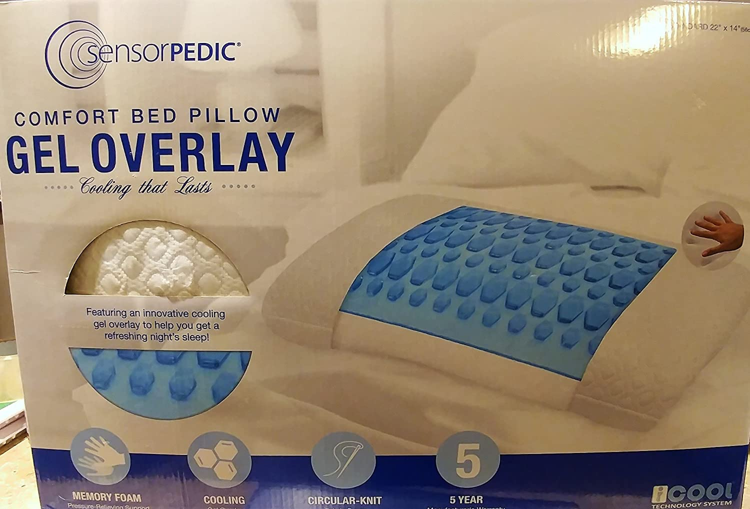 amazon com sensorpedic comfort bed pillow with cooling gel overlay