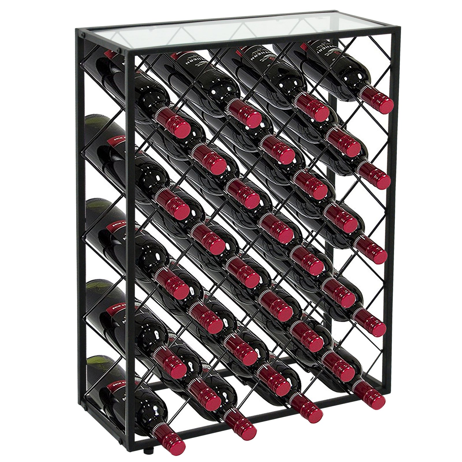 LEMY 32 Bottle Wine Rack Holders Stands Liquor Storage Corner Wine Cabinet with Glassy Table Top, Metal Construction, Black by LEMY