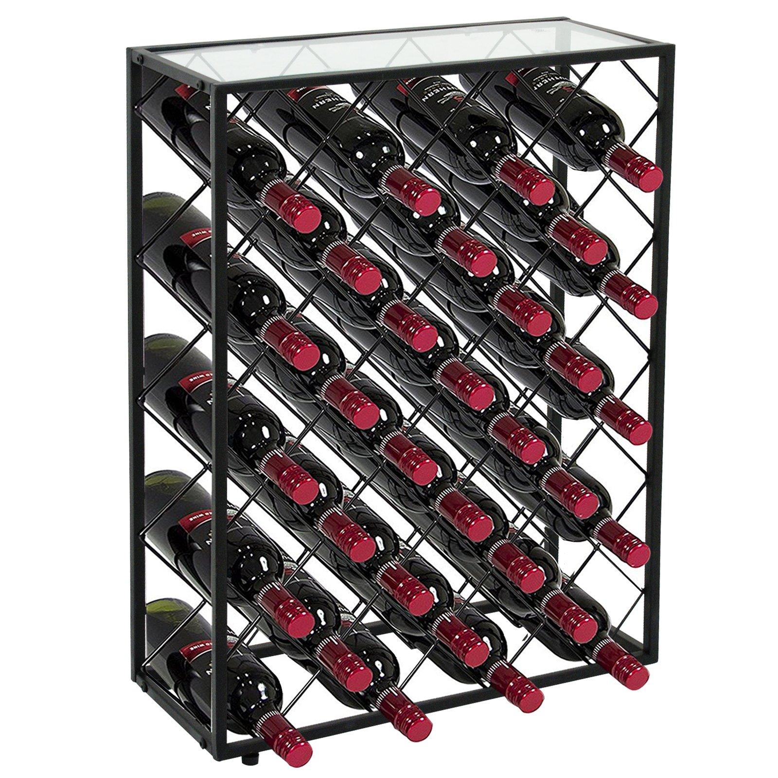 LEMY 32 Bottle Wine Rack Holders Stands Liquor Storage Corner Wine Cabinet with Glassy Table Top, Metal Construction, Black