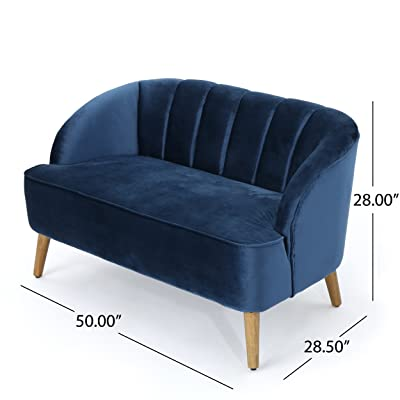 Christopher Knight Home 303505 Amaia Modern Velvet Sofa, Cobalt/Walnut