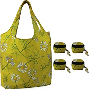 Reusable Grocery Shopping Bags 4 Pack Cute Floral Print Yellow Ruesable Bags w Zipper Cube Pocket Large Capacity Hold 50Lbs Machine Washable Sturdy Shopping Totes for Groceries Daisy Pattern
