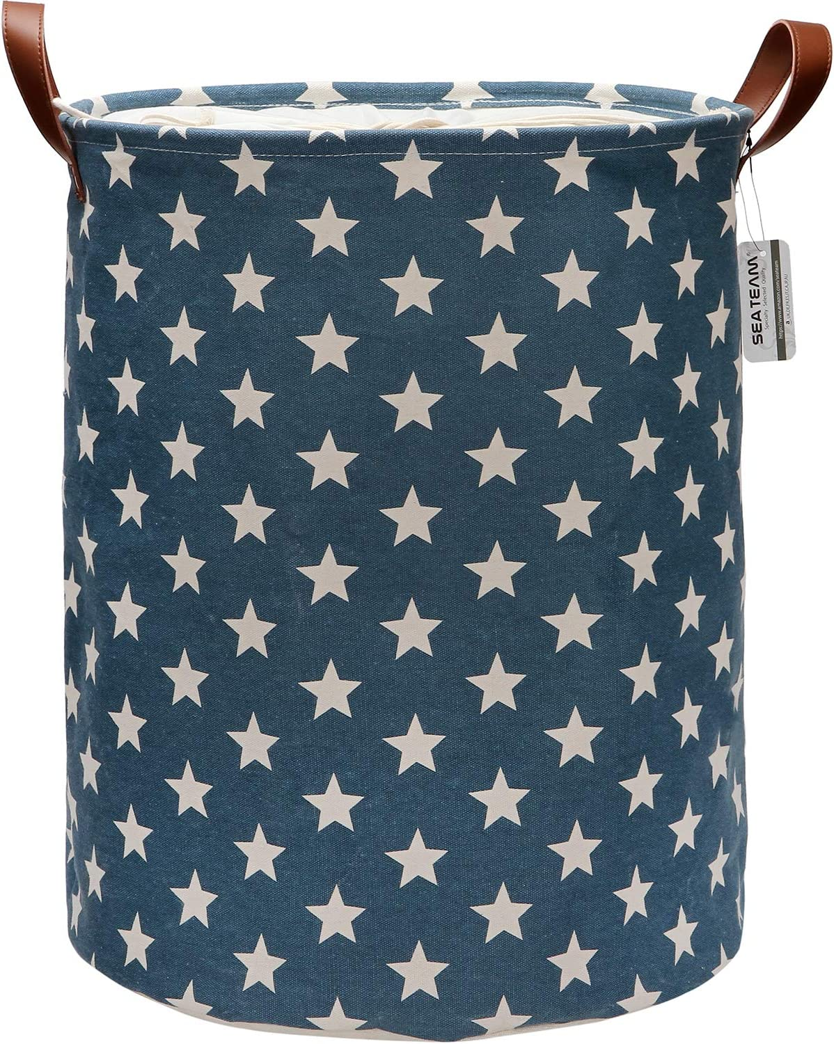 Sea Team Star Pattern Laundry Hamper Canvas Fabric Laundry Basket Collapsible Storage Bin with PU Leather Handles and Drawstring Closure, 19.7 by 15.7 inches, Waterproof Inner, Denim