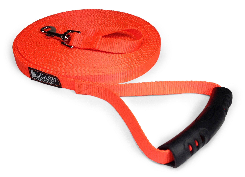 Leashboss Free Range - 50 Foot - Nylon 3/4 inch Dog Leash - for Large & Medium Dogs - Long Training Lead with Handle (50 Ft, 3/4 Orange)