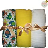 Premium 3-Pack Assorted Muslin Swaddle Blankets by Mama's Helper   Perfect Baby Gifts   Give Baby Security and Protection