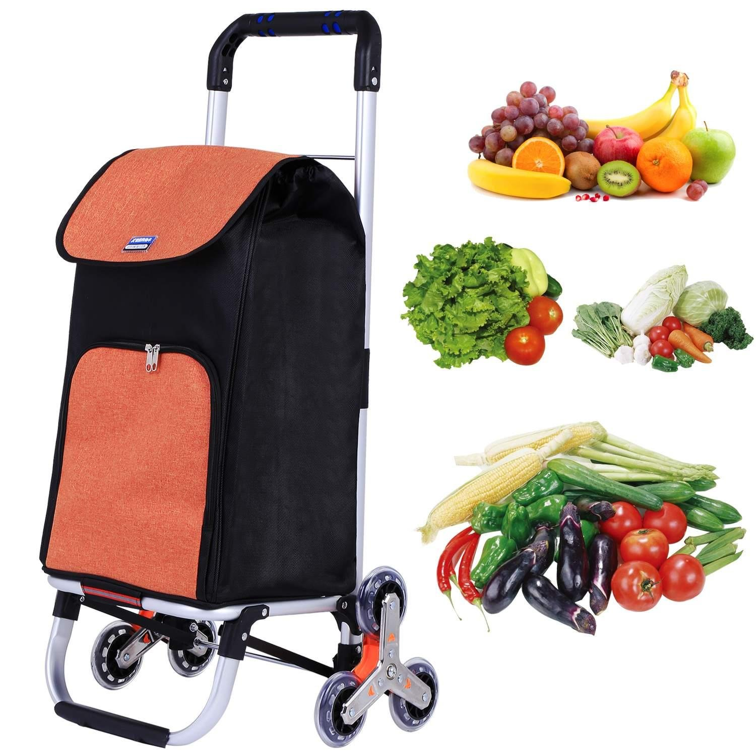 dtemple Foldable Shopping Cart,Stainless Steel Car Body Large Capacity Oxford Cloth Bag Portable Shopping Cart