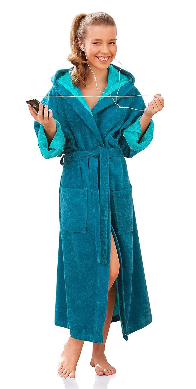 Peignoir long Morgenstern /à capuche pour enfants et jeunes adolescents Ext/érieur en microfibre douce Couleur bleu p/étrole Disponible dans les tailles 134 jusqu/'/à 176 p/étro int/érieur en coton absorbant
