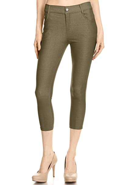 value for money wide range top-rated quality Simlu Capri Jeggings for Women Pull on High Waisted Jeggings Skinny Jeans  with Pockets