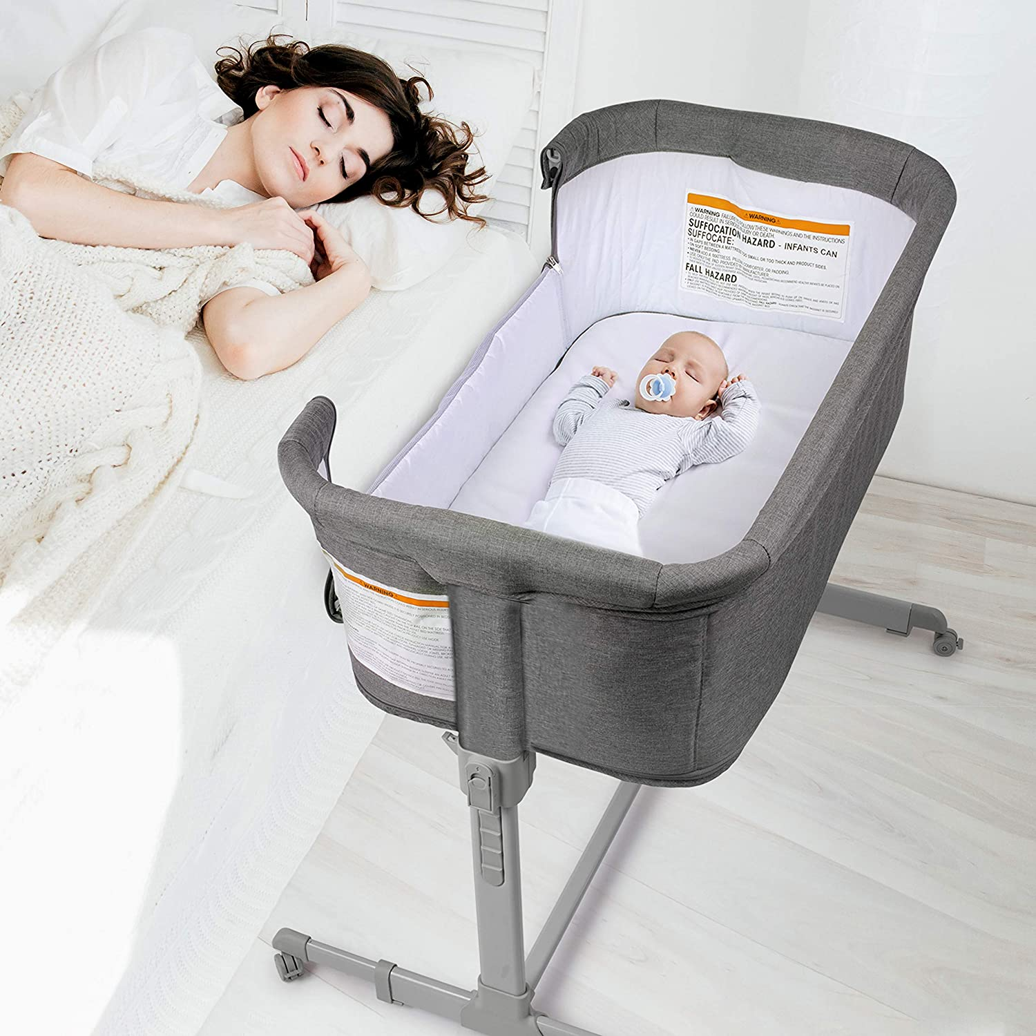 3 in 1 Baby Bassinet, Bedside Sleeper for Baby, Playpen, Easy Folding Portable Crib (Grey)- KoolaBaby