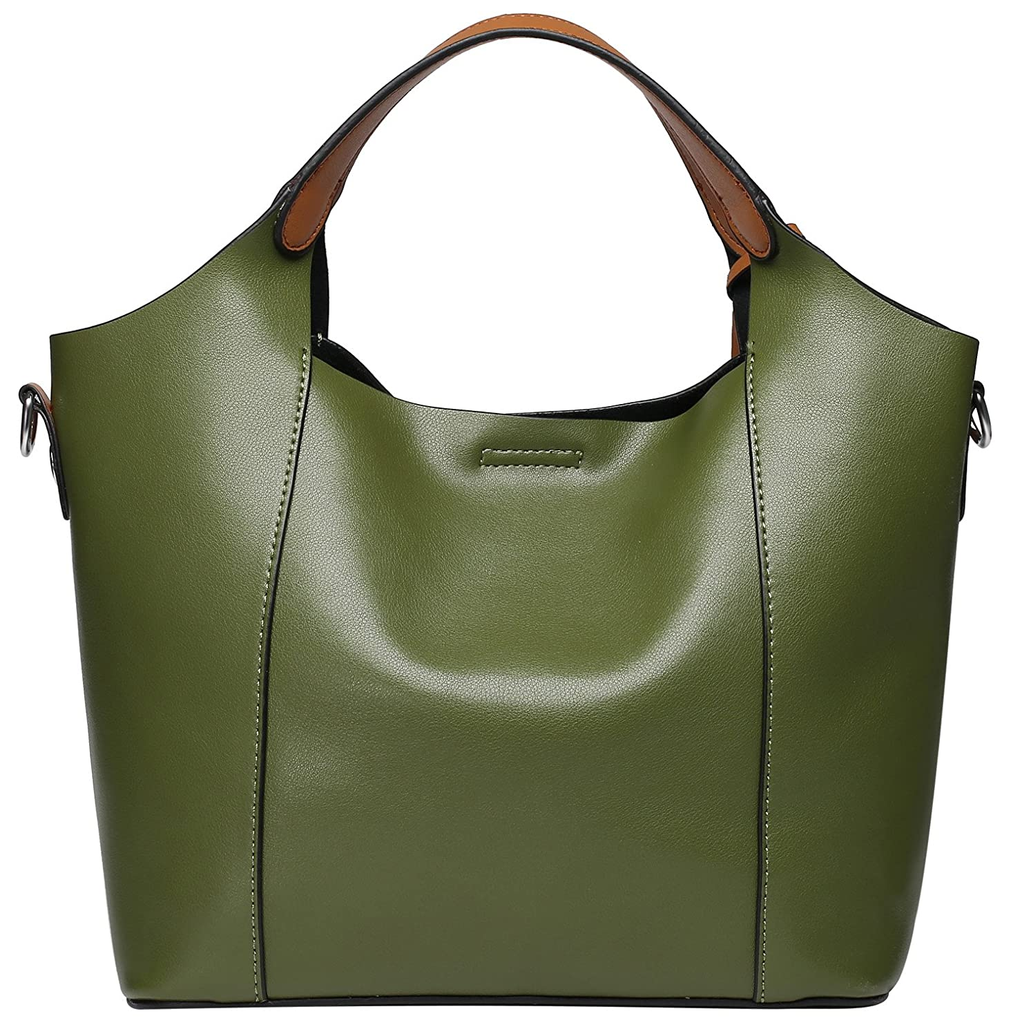 9e12fa08d4 Amazon.com  Weidu Women Leather Handbags Shoulder Bags Top-Handle Tote  Ladies Bags On Sale Clearance Leather Sling Bags For Women Purses For Girls  (green)  ...