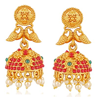 Buy MEENAZ Temple Jewellery Sets Traditional Matte Gold