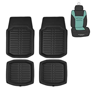 FH Group F14409 Full Set 3D Faux Leather Floor Liners, Black w. Red Trim Color w Fit Most Car, Truck, SUV, or Van