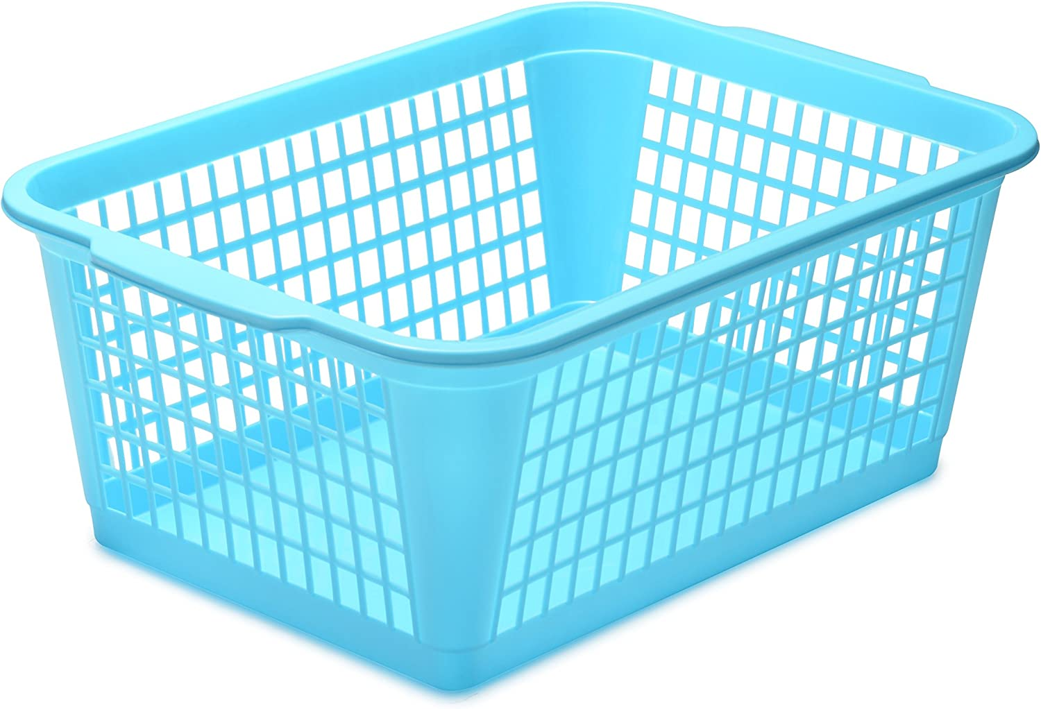 YBM Home Plastic Storage Basket for Office Drawer, Desktop and Classroom - Multipurpose Perforated Bin Tray Organizer for Shelves, Kitchen Pantry, Kids Room, and More 32-1184 Blue
