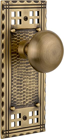 Nostalgic Warehouse Craftsman Plate With New York Knob Privacy 2 375 Antique Brass Amazon Com