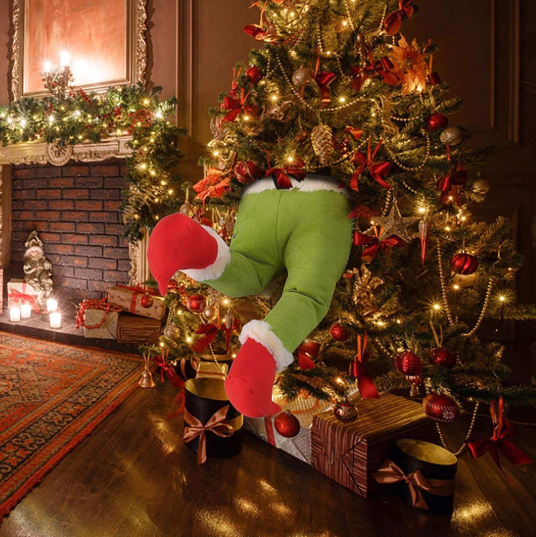Wenjuan Stuffed Plush Elf Legs Wreath Christmas Decoration for Fireplace,Door,Xmas Tree,Window,Wall - How The Christmas Thief Stole Christmas Wreath (Plush Elf Leg)