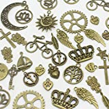 AuroTrends Mixed Charms Pendants Cross,tree of Life,keys,hearts,crescent,sun,crown,leaves DIY for Jewelry Making and Crafting