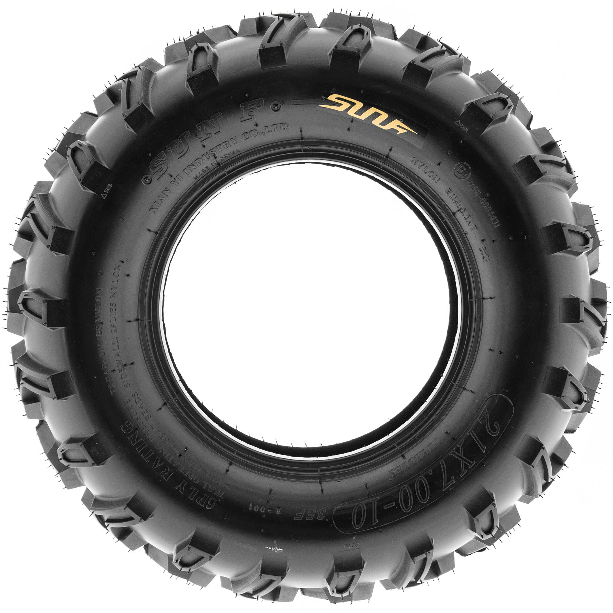 SunF 21x7-10 21x7x10 ATV UTV All Terrain Race Replacement 6 PR Tubeless Tires A001, [Set of 2] by SunF (Image #3)