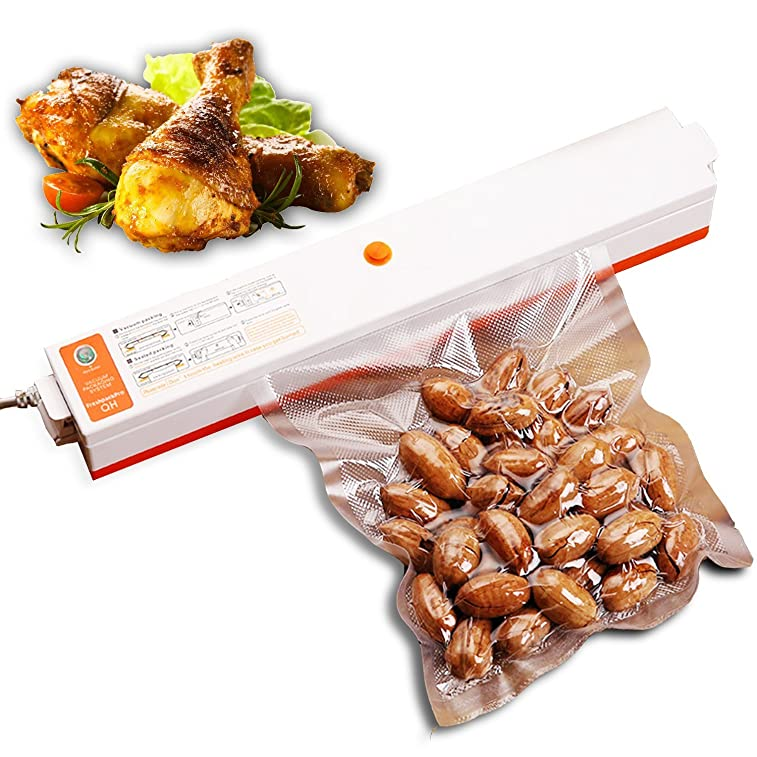 IdentikitGift Automatic Vacuum Sealer machine - Compactable Food Sealer Best for Food Preservation and Storage including Starter Kit, Plus 15 Sealer Bags for Free, IdentikitGift 2017 New Design, 110V