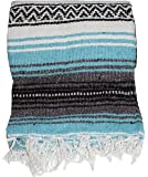 Authentic Mexican Falsa Blanket (Turquoise)