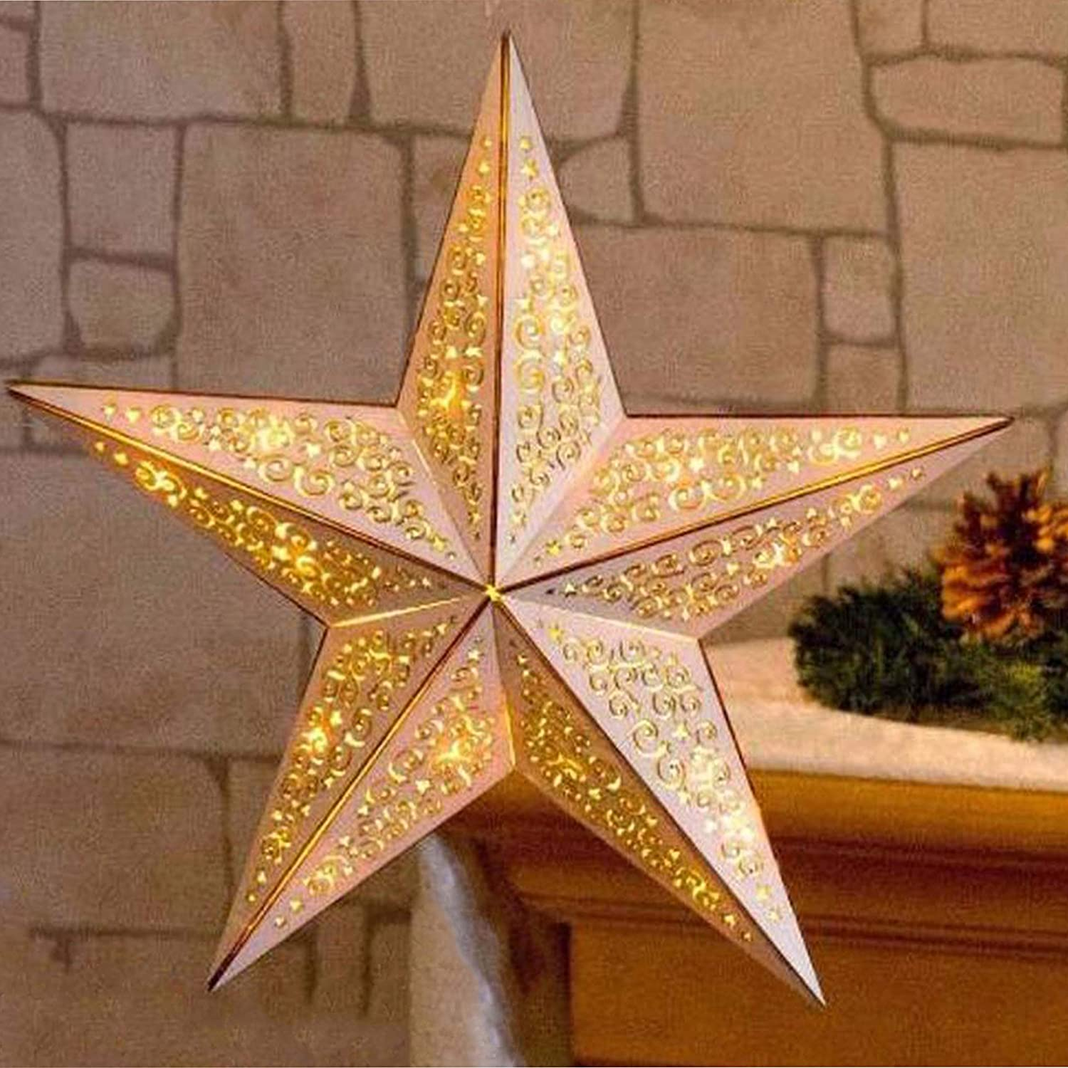 Battery Operated Christmas Wooden LED Star Xmas Decoration with Remote Control The Magic Toy Shop