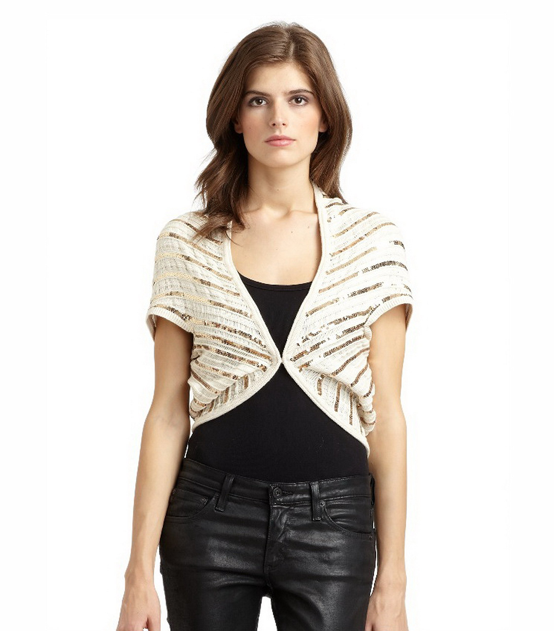 Alice & Olivia Womens Sequin Accent Cotton Knit Shrug SZ S Beige/Gold 60511E