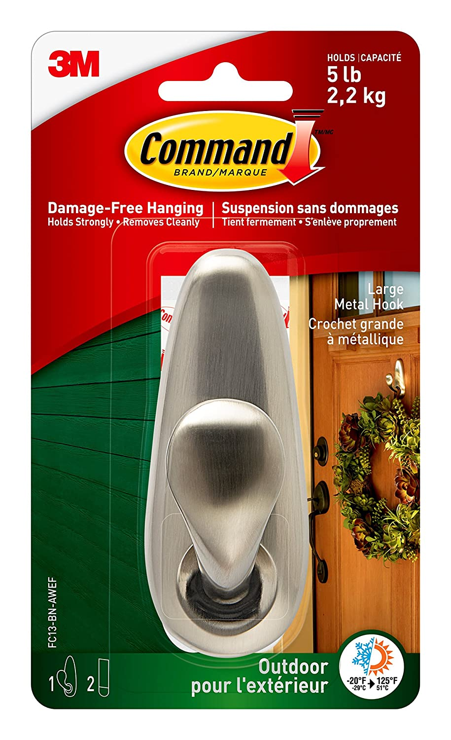 Command 17615AW-EF Assorted Outdoor Foam Refill Strips, White, 4 Medium Strips 2 Large Strips 6 Strips per Pack (17615AW-EF) 17615AW-ES-E