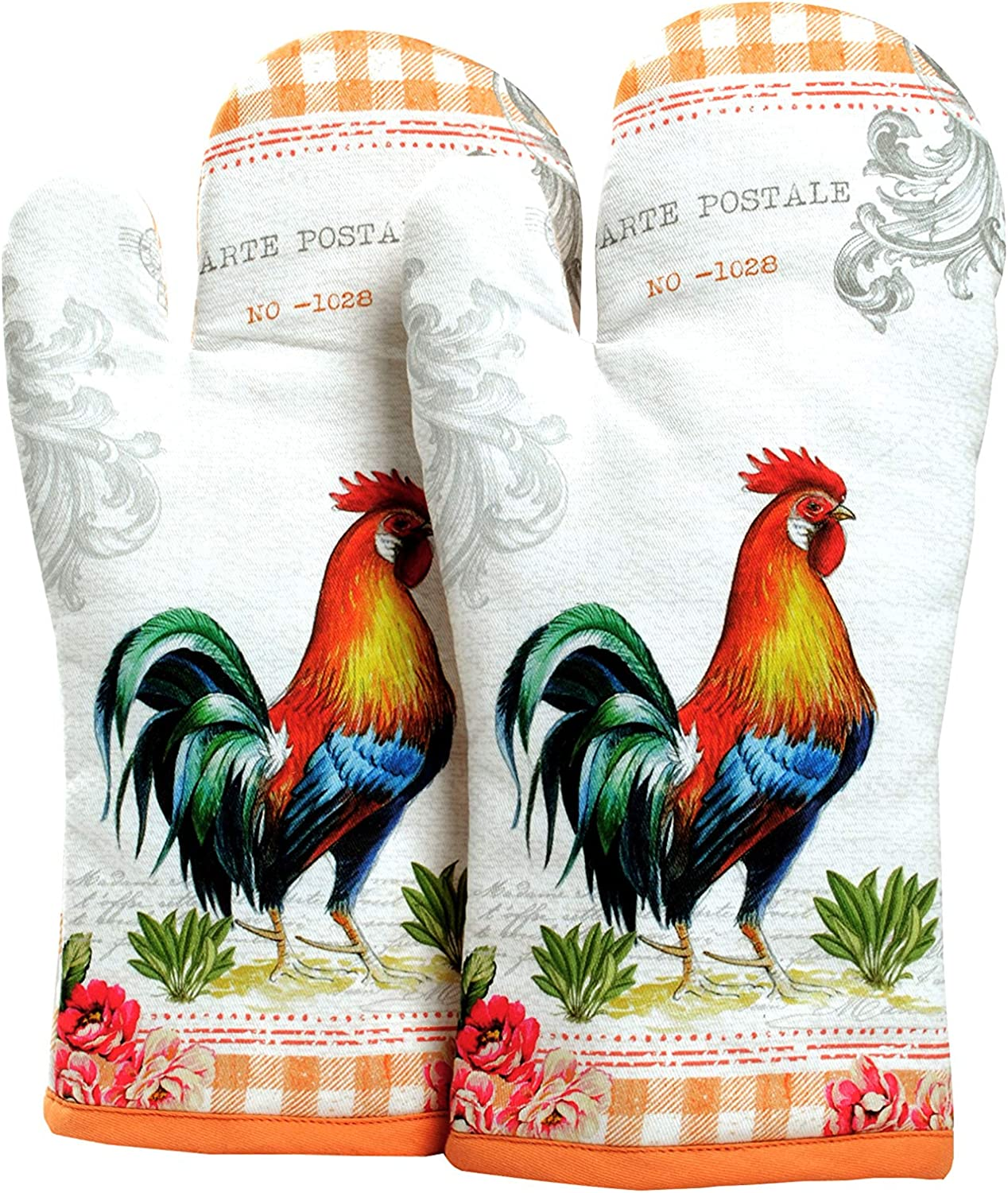 AMOUR INFINI Oven Mitts Farm Rooster | Set of 2 | 7 x 13 Inches |100% Natural Cotton | Perfect for Heat Resistant | Eco - Friendly & Safe