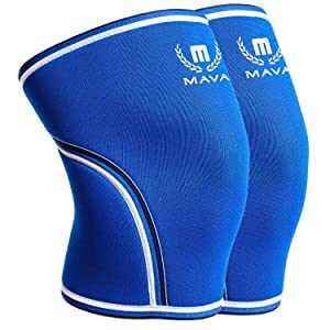 Mava Sports Pair of Knee Compression Sleeves Neoprene 7mm for Men & Women for Cross Training WOD, Squats, Gym Workout, Powerlifting, Weightlifting