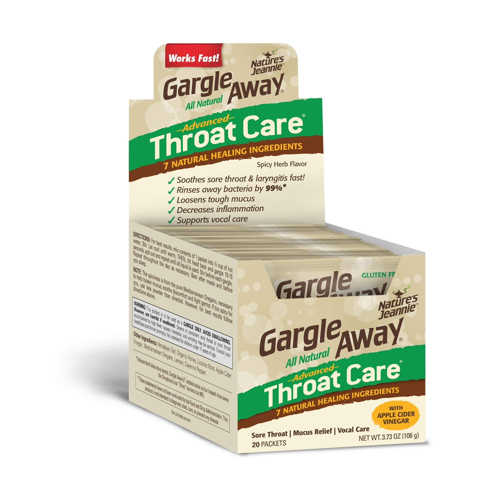 Gargle Away by Nature's Jeannie - Natural Sore Throat Remedy, Vocal Care, Mucus Relief, Cough Suppressant for Kids and Adults (20-Pack, Powder)