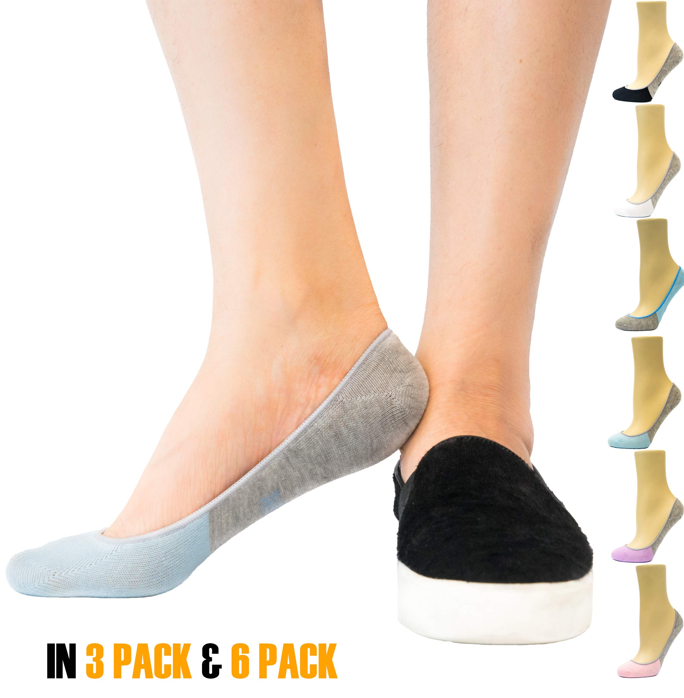 Thirty 48 Women's Premium No Show Socks with Non Slip Grip (3 or 6 Pairs) (One Size (6-9), Gray & Blue(6 Pairs))