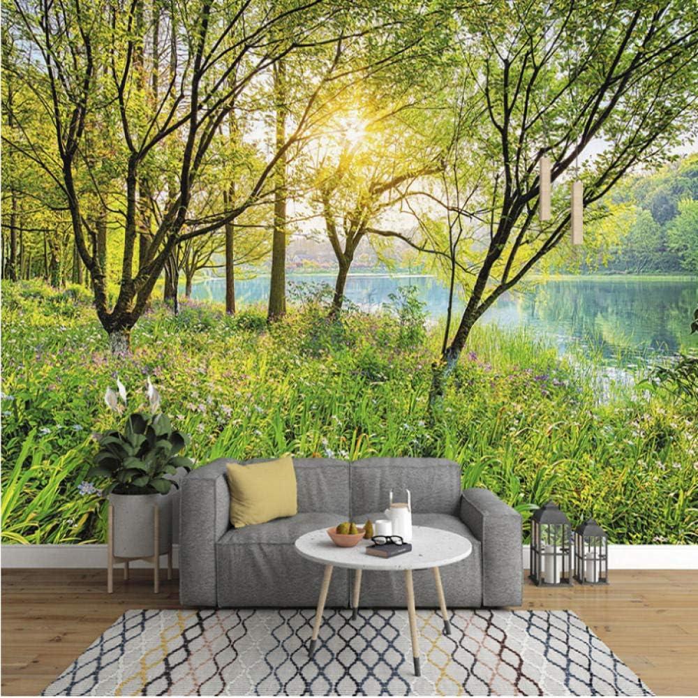 Wuyyii カスタム壁画壁紙3D緑の森自然風景壁画リビングルームテレビ寝室家の装飾壁用壁3 D-350X250Cm