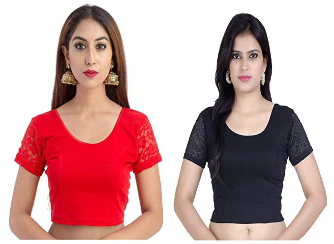 3d2b36a91e9ba Fressia Fabrics Women s Cotton Saree Blouse(100 HALF BlackK( COMBO 1 100  RED+BLACK) Black Free