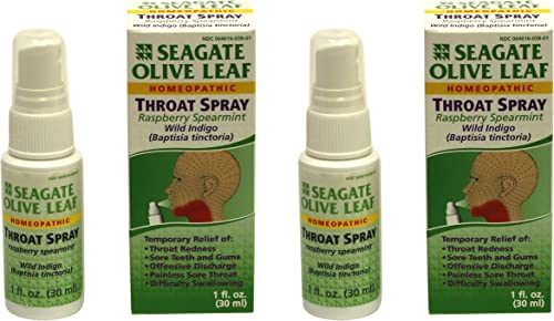 Seagate Products Homeopathic Olive Leaf Throat Spray Pack of 2 1 Ounce Raspberry-Spearmint