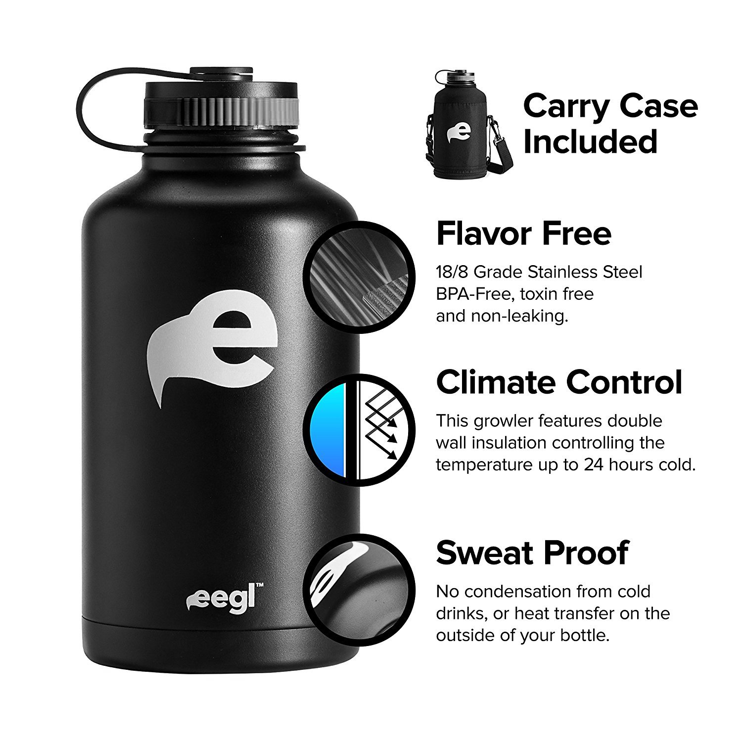 Stainless Steel Insulated Beer Growler - 64 oz Water Bottle - Includes Carry Case - Double Wall Vacuum Sealed Wide Mouth Design. Five Year Guarantee! Perfect Temperature Control from eegl by eegl (Image #5)