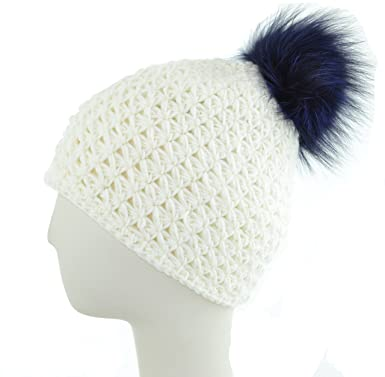 523eb8cb435 Knit Hat w Fox Pom (Ivory Black Berry) at Amazon Women s Clothing store