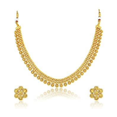 1c54d5a0ae8c88 Buy MEENAZ Jewellery One Gram Gold Plated Jewellery Set with Earring for  Women/Girls Online at Low Prices in India | Amazon Jewellery Store -  Amazon.in