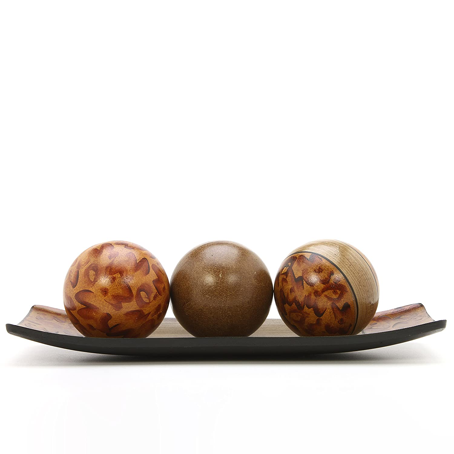 Hosley's Brown Decorative Tray and Orb/ball Set- 15 Long, Burlwood Style Finish. Ideal GIFT for Weddings, Party, Spa, Reiki, Meditation O9 Elegant ExpressionsTM Hosley® FBA_BS49494WD