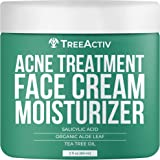 TreeActiv Acne Treatment Face Cream Moisturizer   Salicylic Acid + Tea Tree Cream for Pimple, Blackhead, Whitehead, Zit, Mili